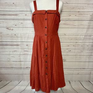 Anthro First Monday Button Front Gingham Dress M